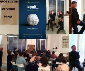 Antoine Chalvin, Mehis Heinsaar et Renaud Barse chez Seymour+, le 30 mai 2015 pour La nuit de la littérature à Paris