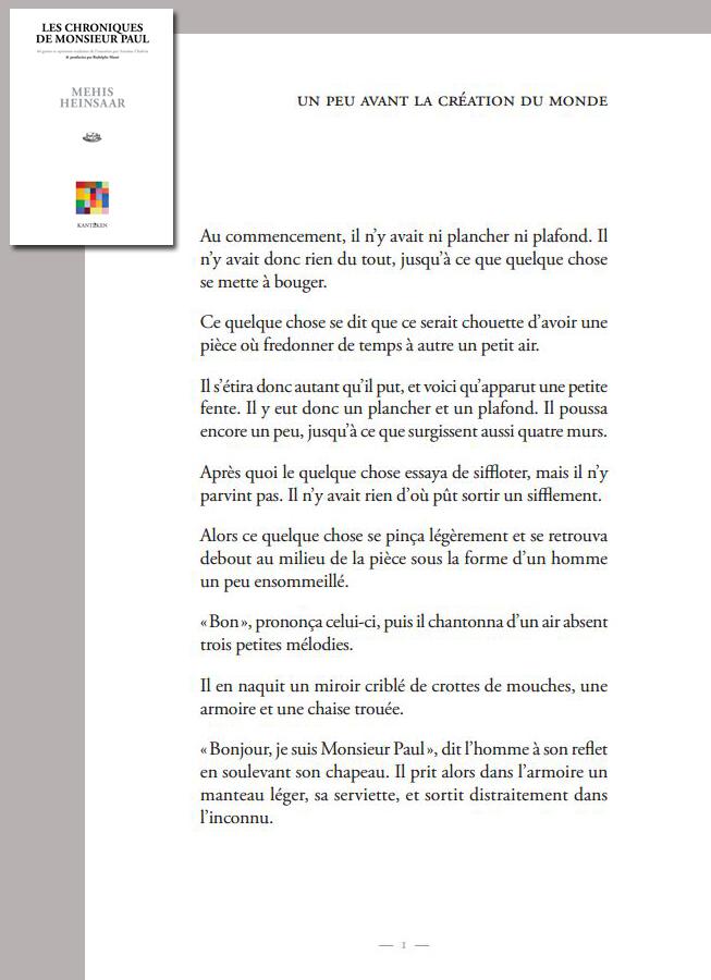 page1 des Chroniques de Monsieur Paul (Mehis Heinsaar traduit par Antoine Chalvin)